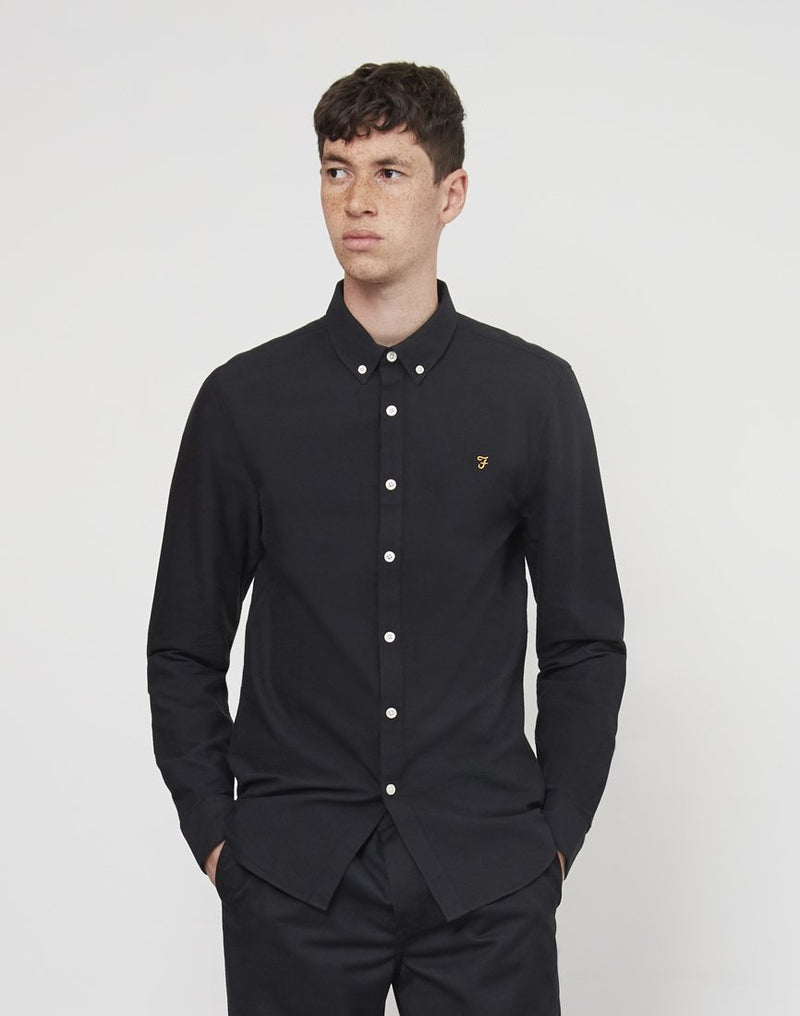 Farah - Brewer Long Sleeve Oxford Shirt Black