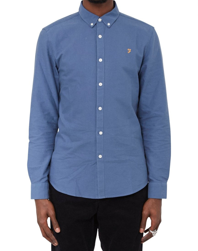 Farah - Brewer Oxford Slim Long Sleeve Shirt Blue