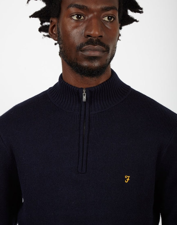 Farah - Zipped Collar Jumper Navy