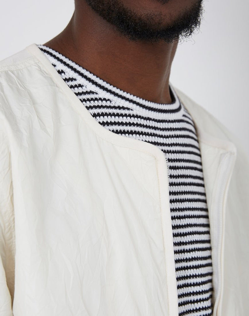 Folk - Collarless Nylon Jacket Off White