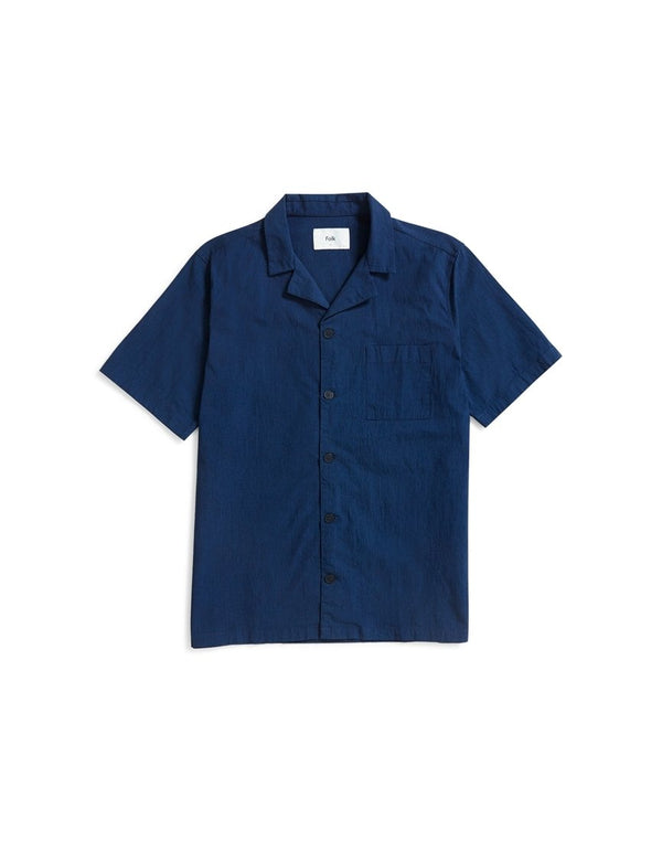 Folk - Short Sleeve Soft Collar Shirt Navy
