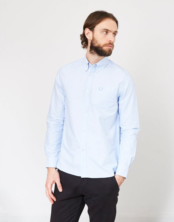 Fred Perry - Long Sleeve Heavy Oxford Shirt Light Blue