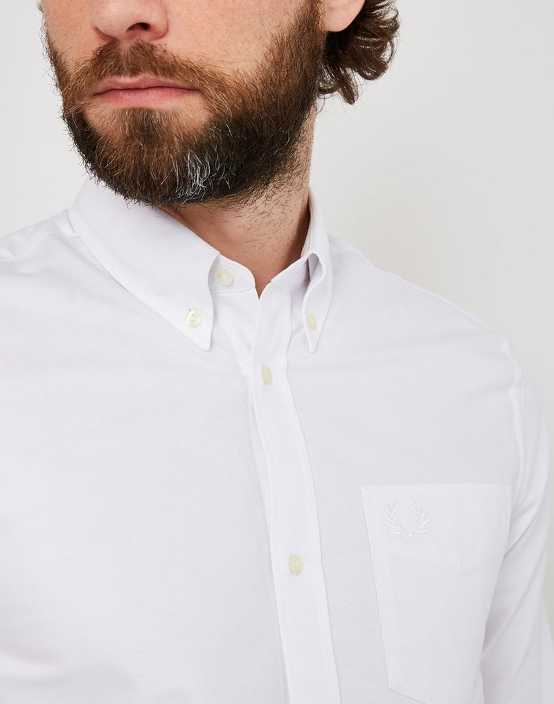 Fred Perry - Long Sleeve Heavy Oxford Shirt White