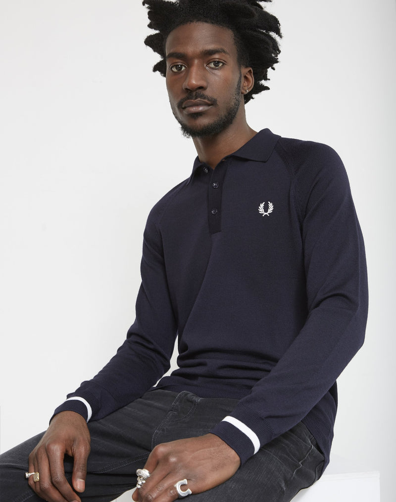 Fred Perry - Long Sleeve Tipped Cuff Knit Shirt Navy