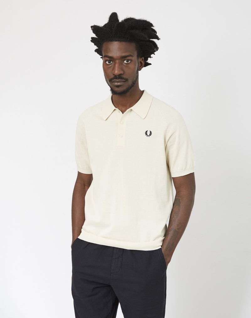 Fred Perry - Short Sleeve Raglan Knitted T-Shirt Ecru