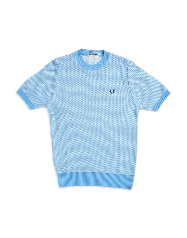 Fred Perry - Two Colour Crew Neck Knit Jumper Blue