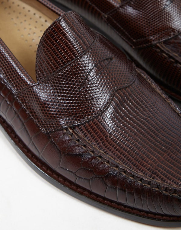 G.H. Bass & Co. - Weejun Logan x Engineered Garments Croc Loafer Brown