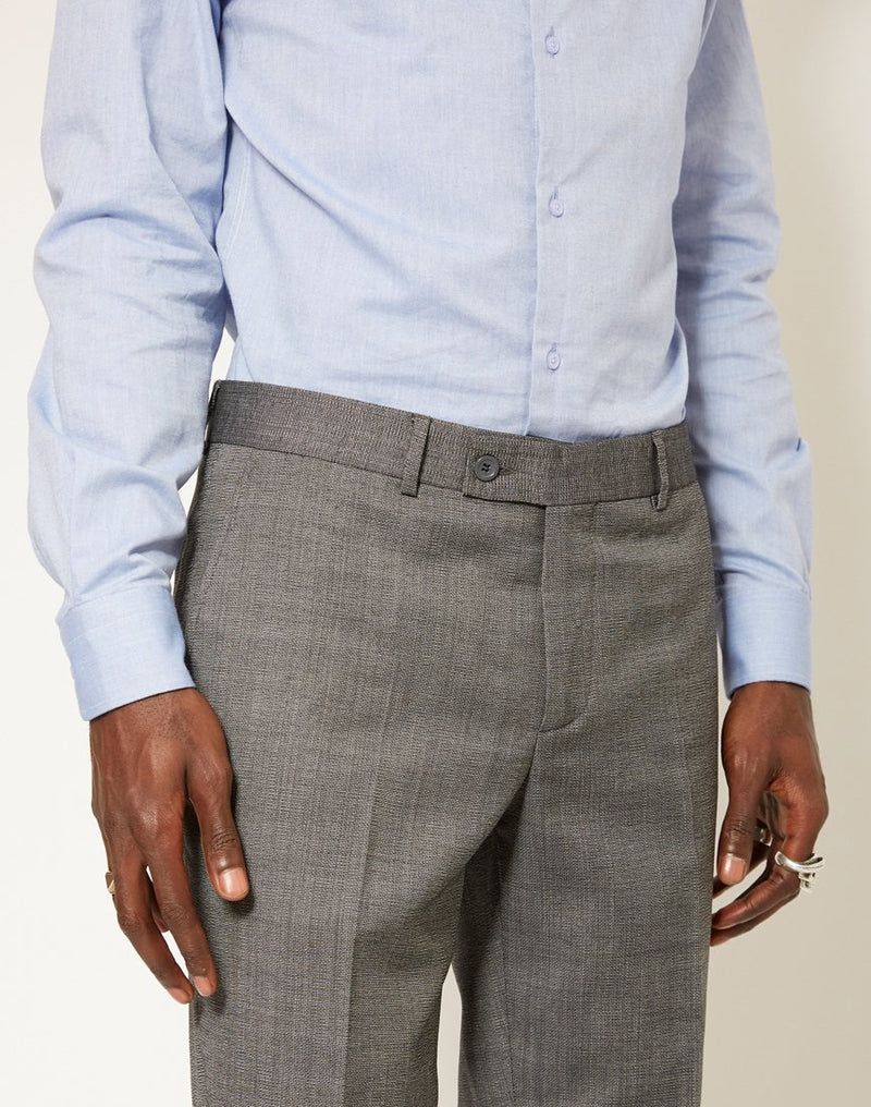 The Idle Man - Slim Textured Pure Wool Suit Trousers Grey