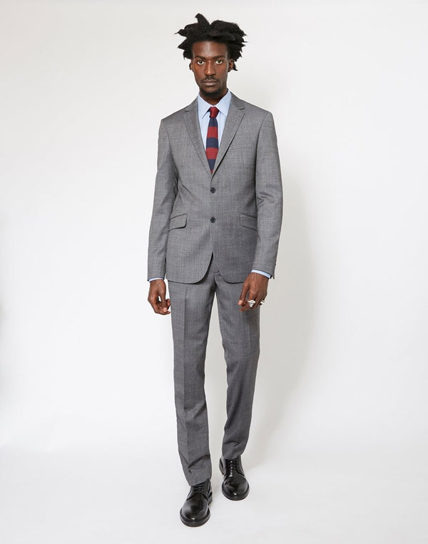 The Idle Man - Slim Textured Pure Wool Suit Jacket Grey