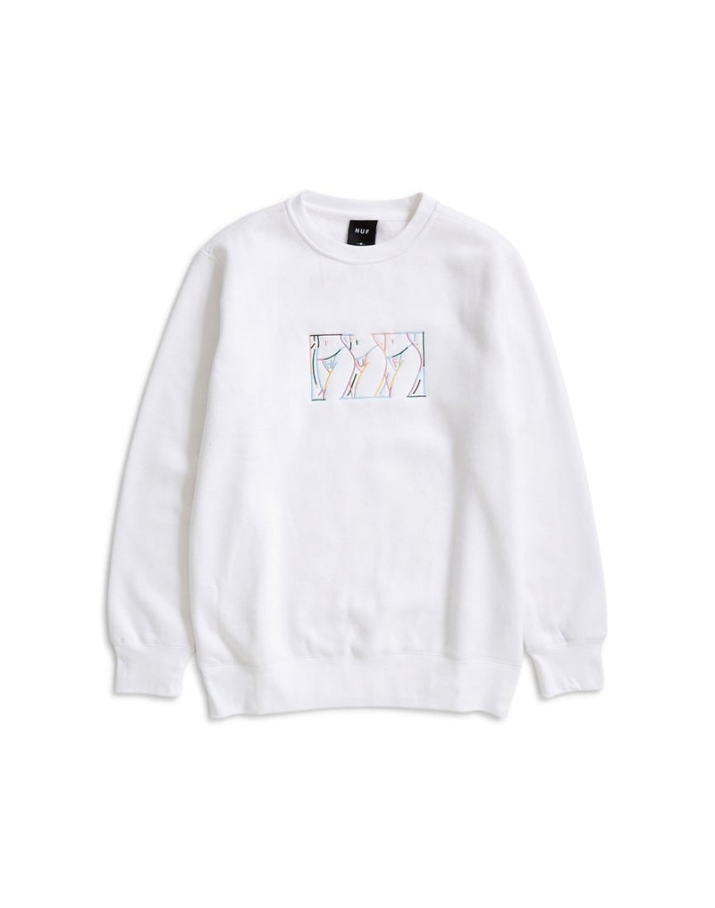 HUF - Malibu Embroidered Crew Fleece Sweatshirt White