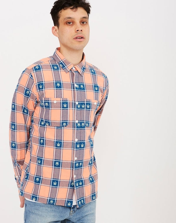 HUF - Plantlife Plaid Long Sleeve Shirt Pink