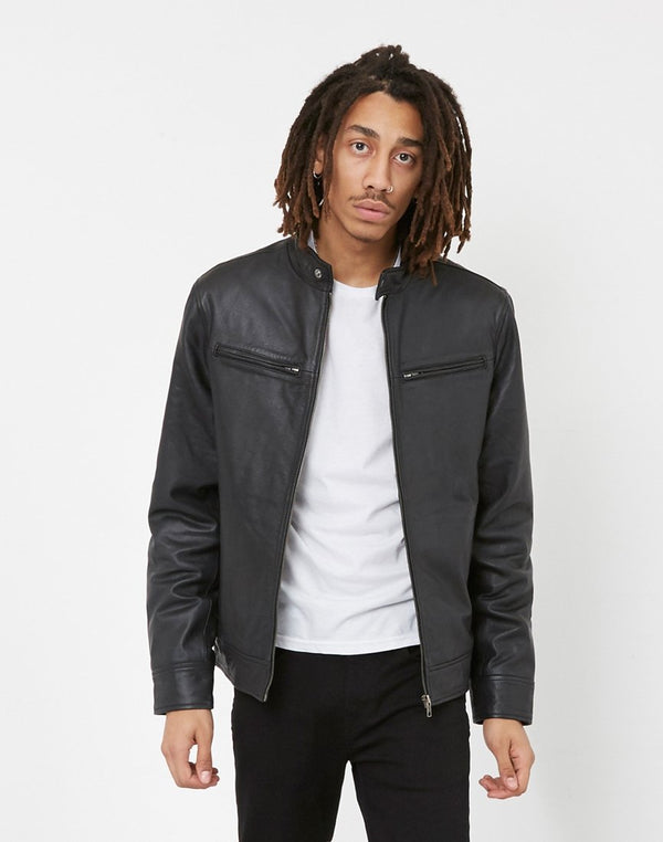 The Idle Man - Leather Café Racer Jacket Black