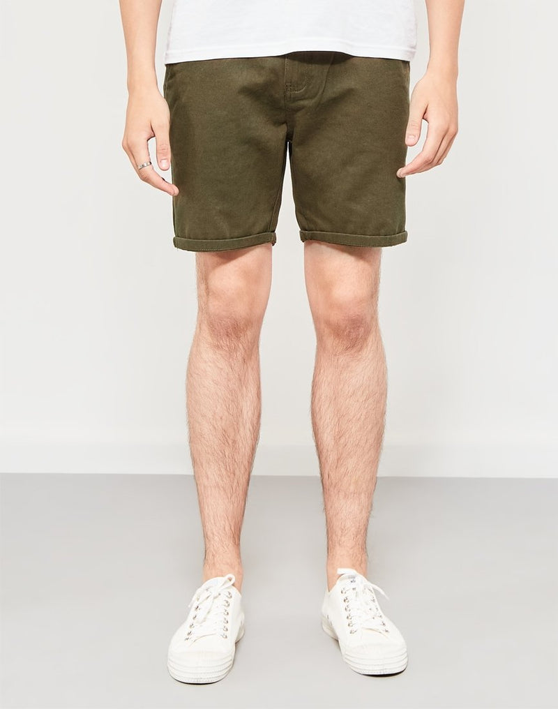The Idle Man - Cotton Twill Shorts Khaki Green