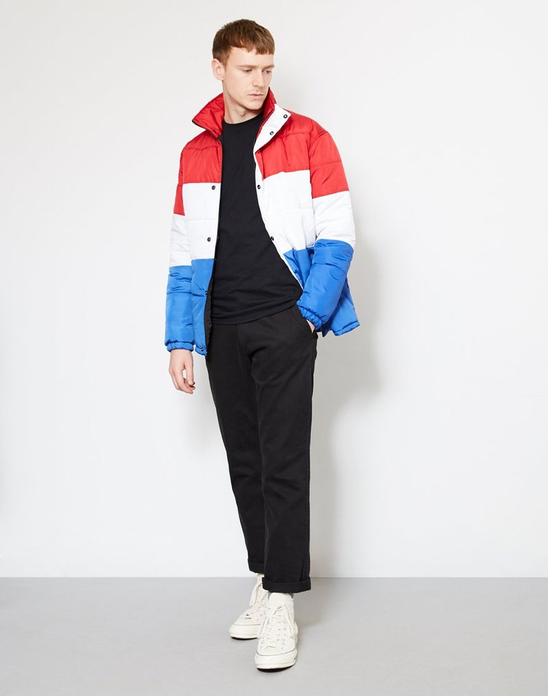The Idle Man - Colour Block Puffer Jacket Red White & Blue