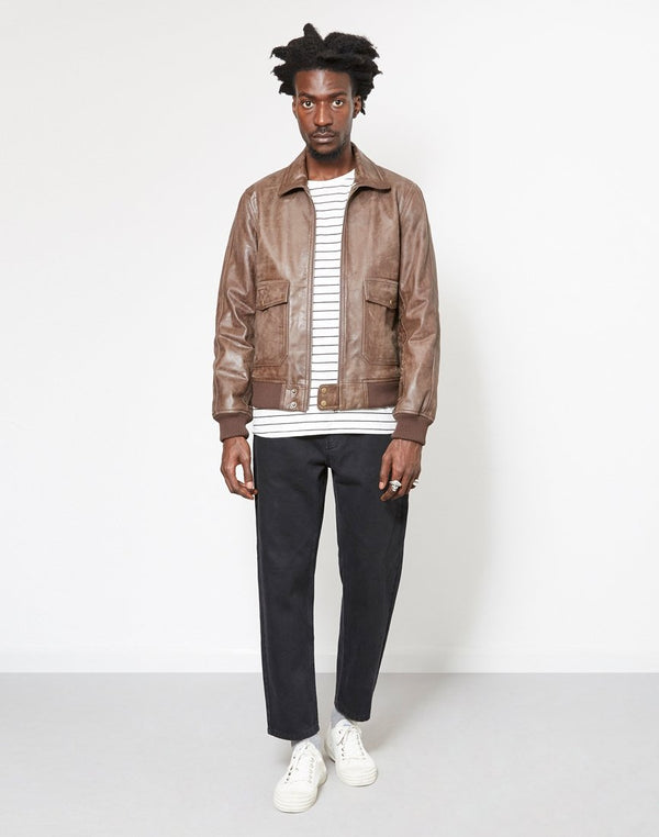 The Idle Man - Vintage Leather Flight Bomber Jacket Brown
