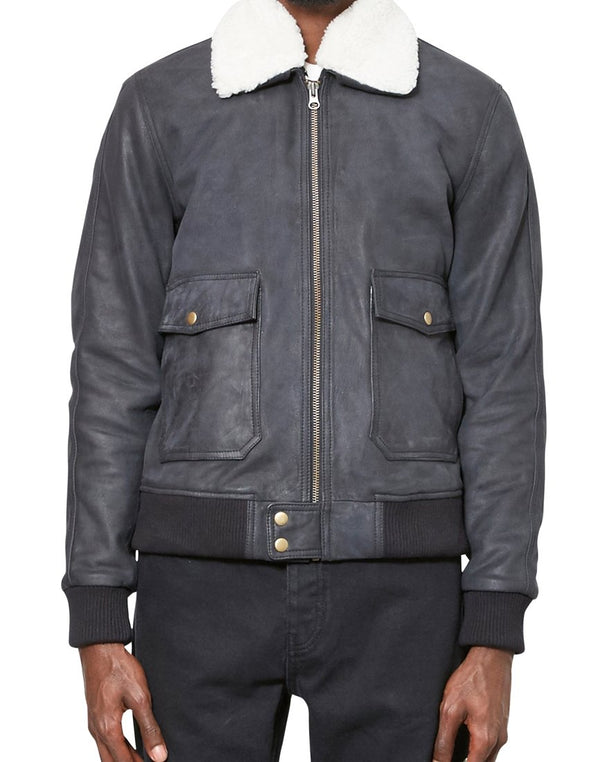 The Idle Man - Vintage Leather Flight Bomber Jacket Deep Navy