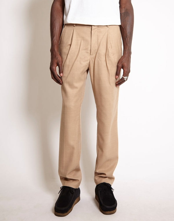 Saturdays NYC - Gordy Wool Tapered Loose Fit Trousers Tan
