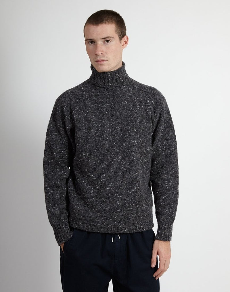 Kestin Hare - Donegal High Ribbed Roll Neck Jumper Charcoal Grey