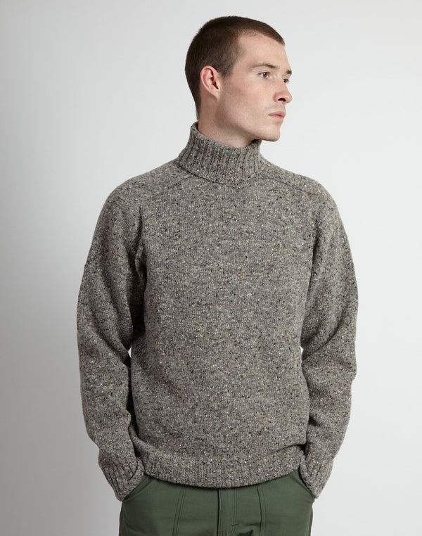 Kestin Hare - Donegal High Ribbed Roll Neck Jumper Light Grey