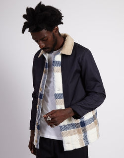Kestin Hare - Beauly Contrast Wool & Nylon Trucker Navy Check
