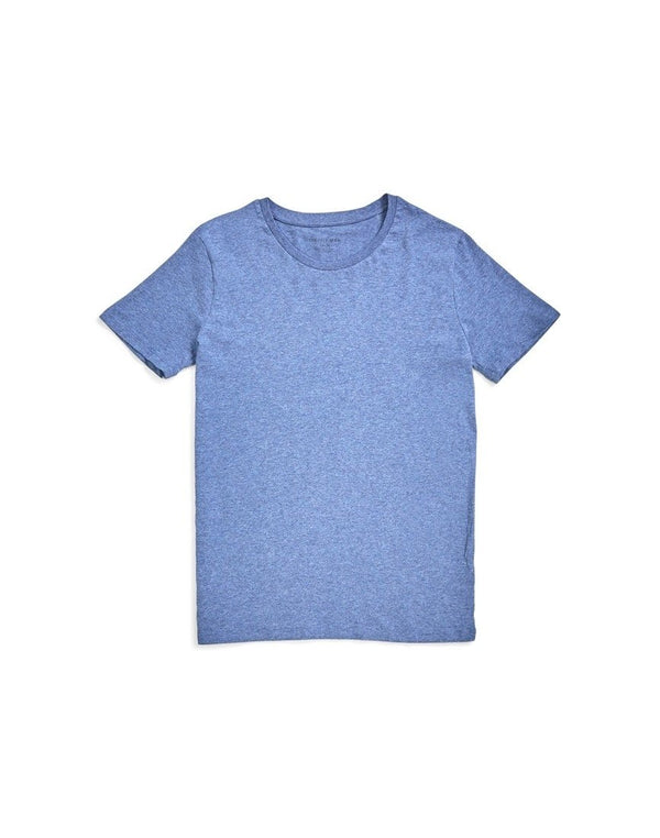The Idle Man - Organic Crew Neck T-Shirt Blue