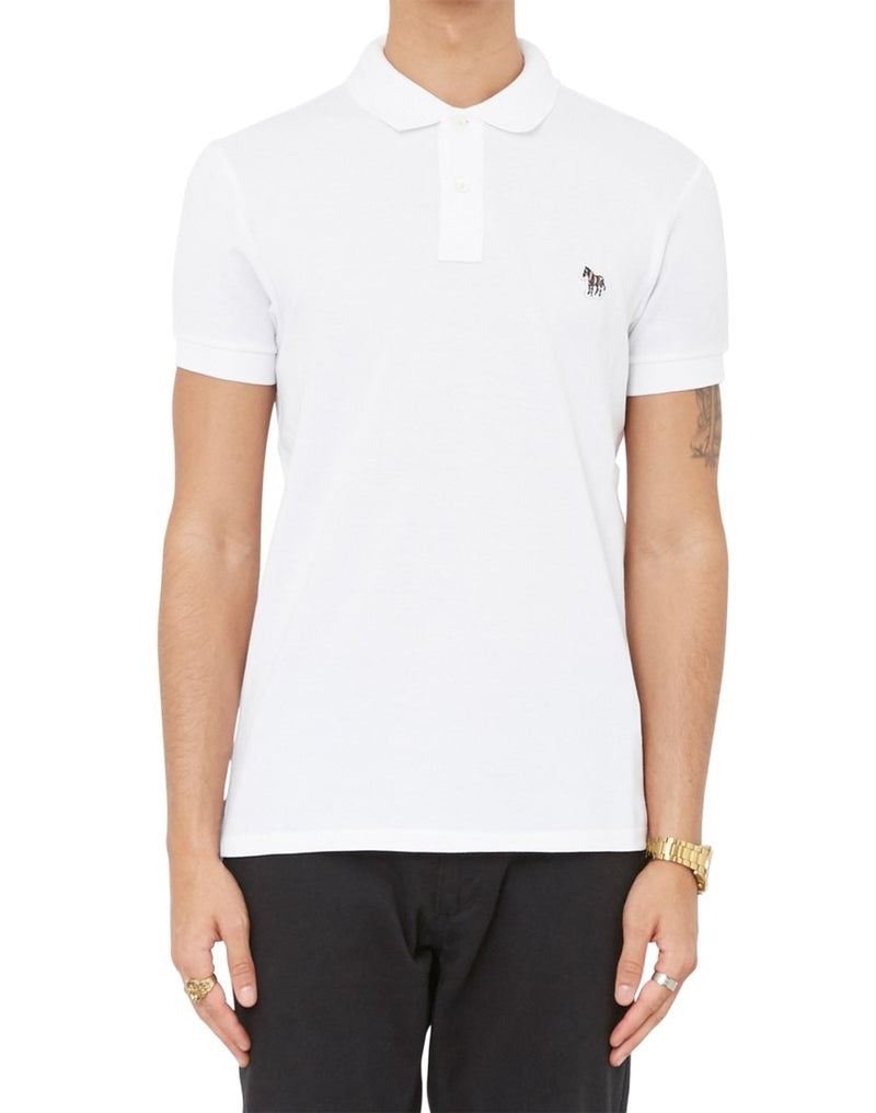 Paul Smith - Short Sleeve Slim Fit Zebra Polo Shirt White