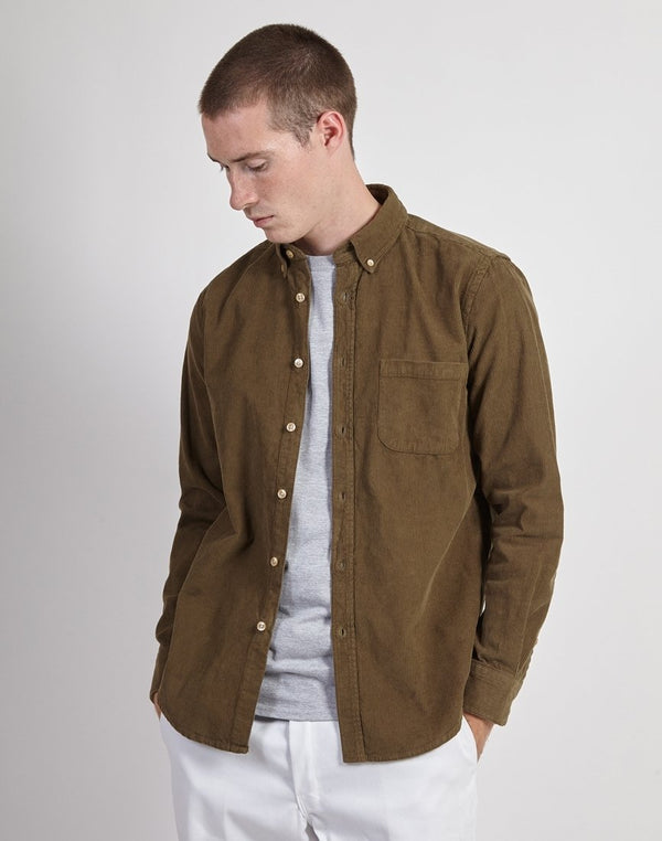Portuguese Flannel - Corduroy Lobo Shirt Olive Green