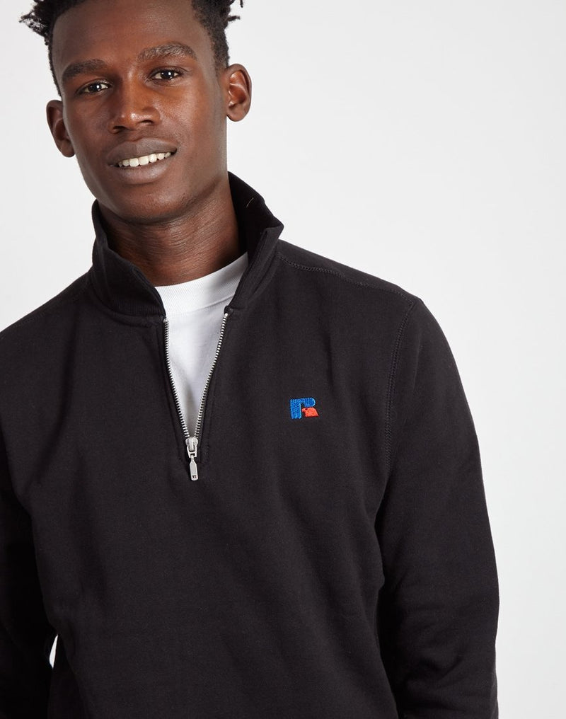 Russell Athletic - Keith 1/4 Zip Polo Sweatshirt Black