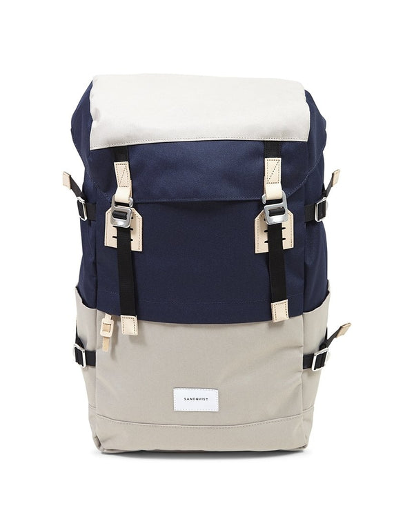 Sandqvist - Harald Backpack Beige & Blue - Beige