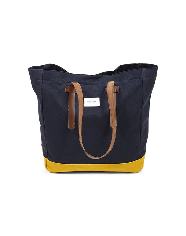 Sandqvist - Stig Tote Bag Blue & Yellow - Blue