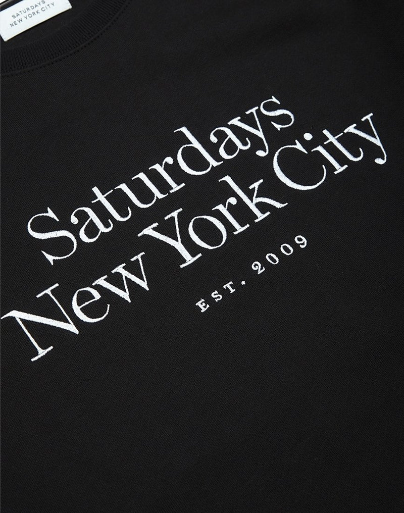 Saturdays NYC - Bowery Miller Standard Embroidered Sweatshirt Black