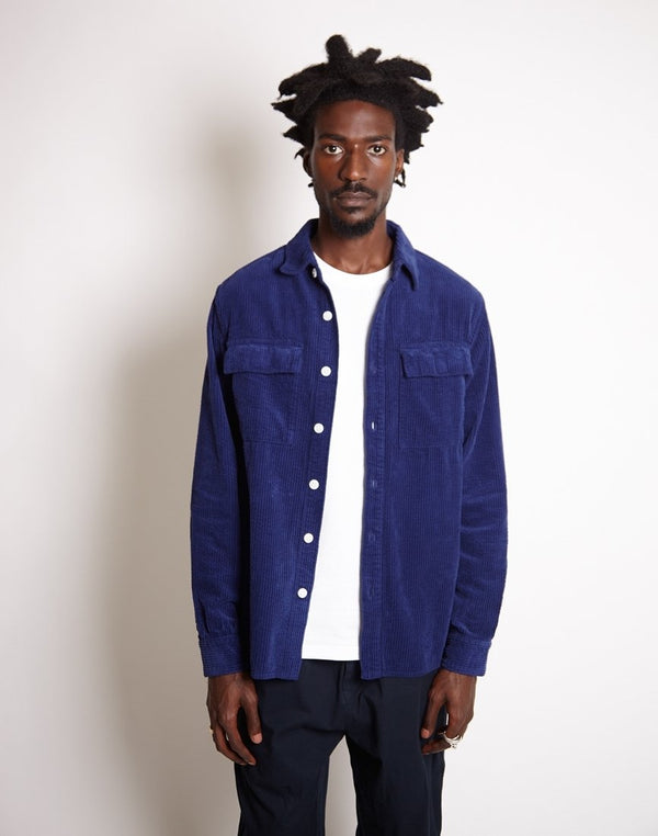 Saturdays NYC - Magnus Heavy Cord Long Sleeve Shirt Blue