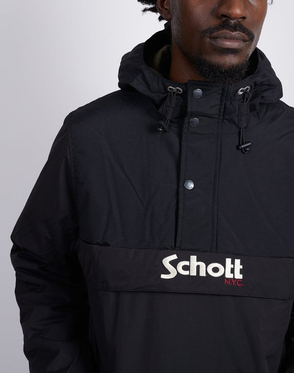 Schott NYC - Hooded Anorak With Big Schott Logo Black