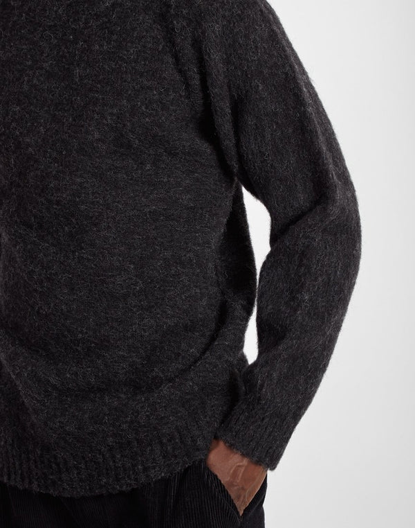 Shetland Woollen Co. - Shaggy Crew Neck Jumper Charcoal