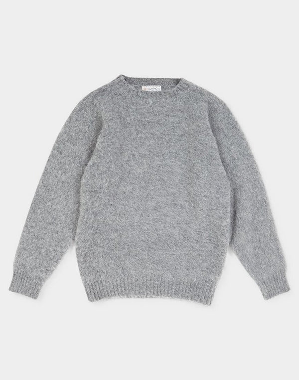 Shetland Woollen Co. - Shaggy Crew Neck Jumper Steel Grey