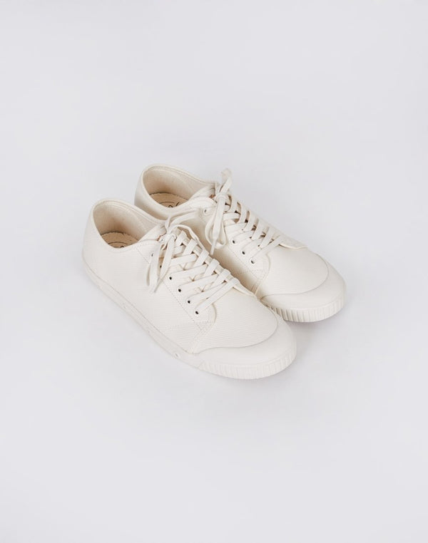Spring Court - G2 Waxy Heavy Twill Plimsoll Off-White