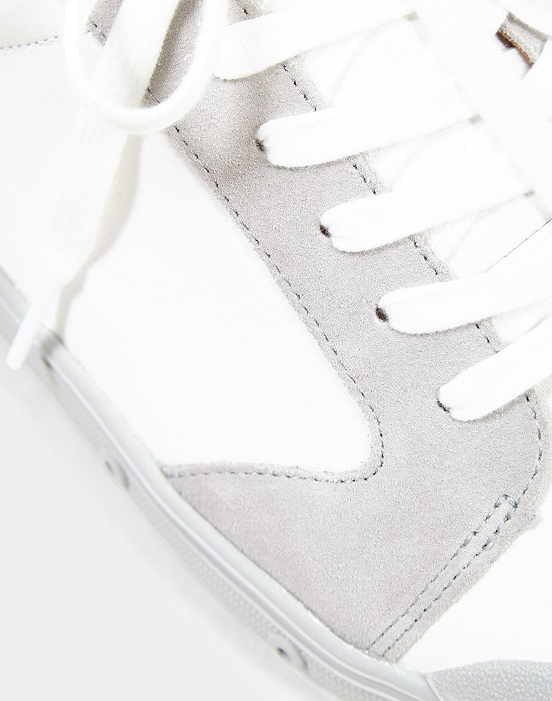 Spring Court - Leather & Suede Plimsoll White