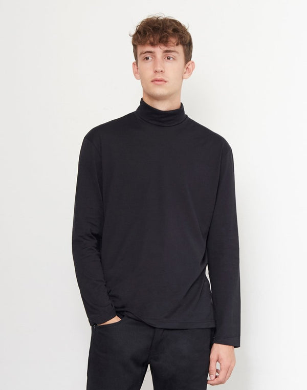 Sunspel - Roll Neck Jumper Black