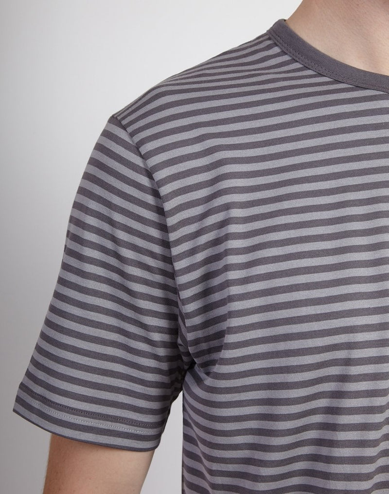 Sunspel - Short Sleeve Classic Crew Neck T-Shirt Light Grey & Mid Grey Stripe