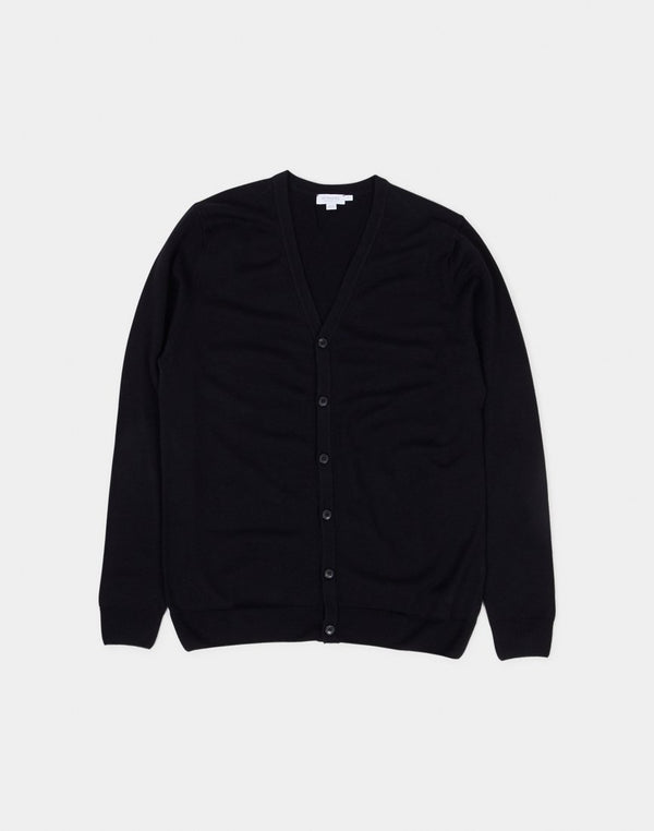 Sunspel -Merino Wool Cardigan Black