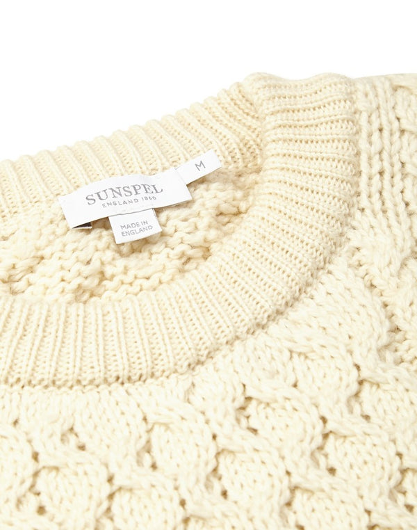 Sunspel - Long Sleeve Cable Crew Neck Sweater Archive White