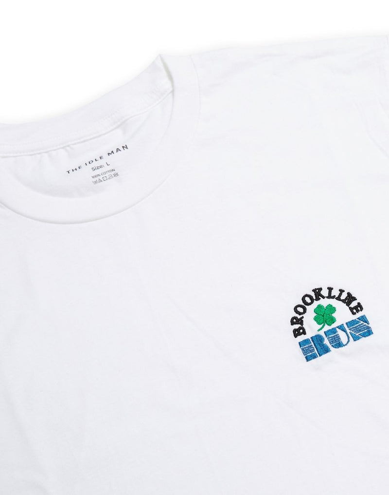 The Idle Man - Brookline Run Embroidered T-Shirt White