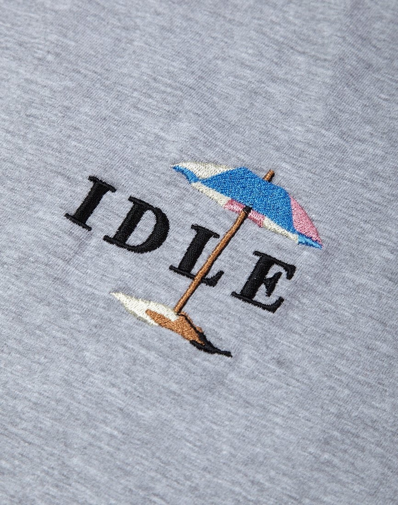 The Idle Man - Beach Brella Embroidered T-Shirt Grey