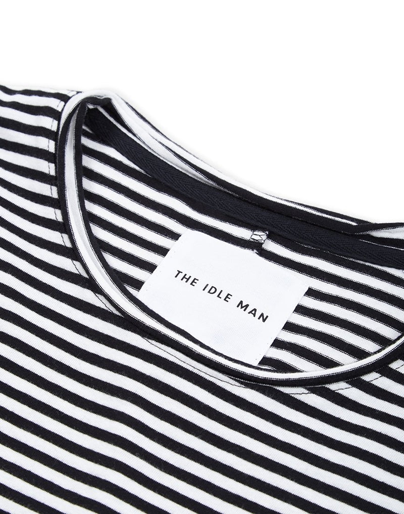 The Idle Man - Bleached Striped T-Shirt White & Black