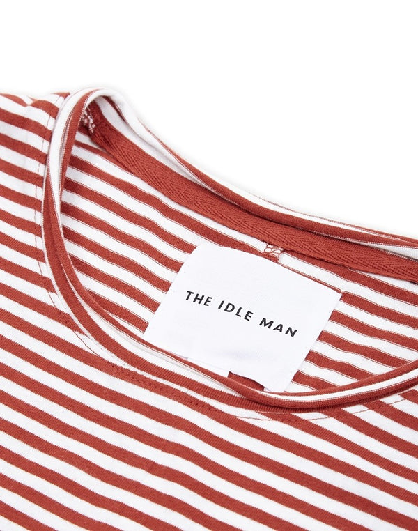 The Idle Man - Bleached Striped T-Shirt White & Red
