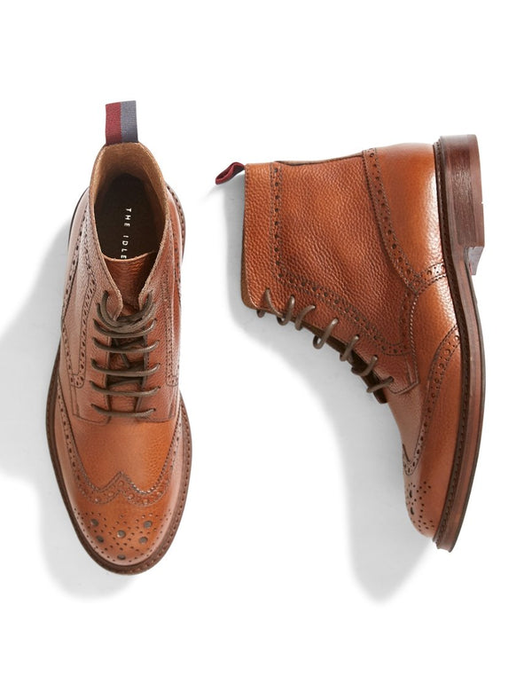 The Idle Man - Leather Brogue Boot Tan