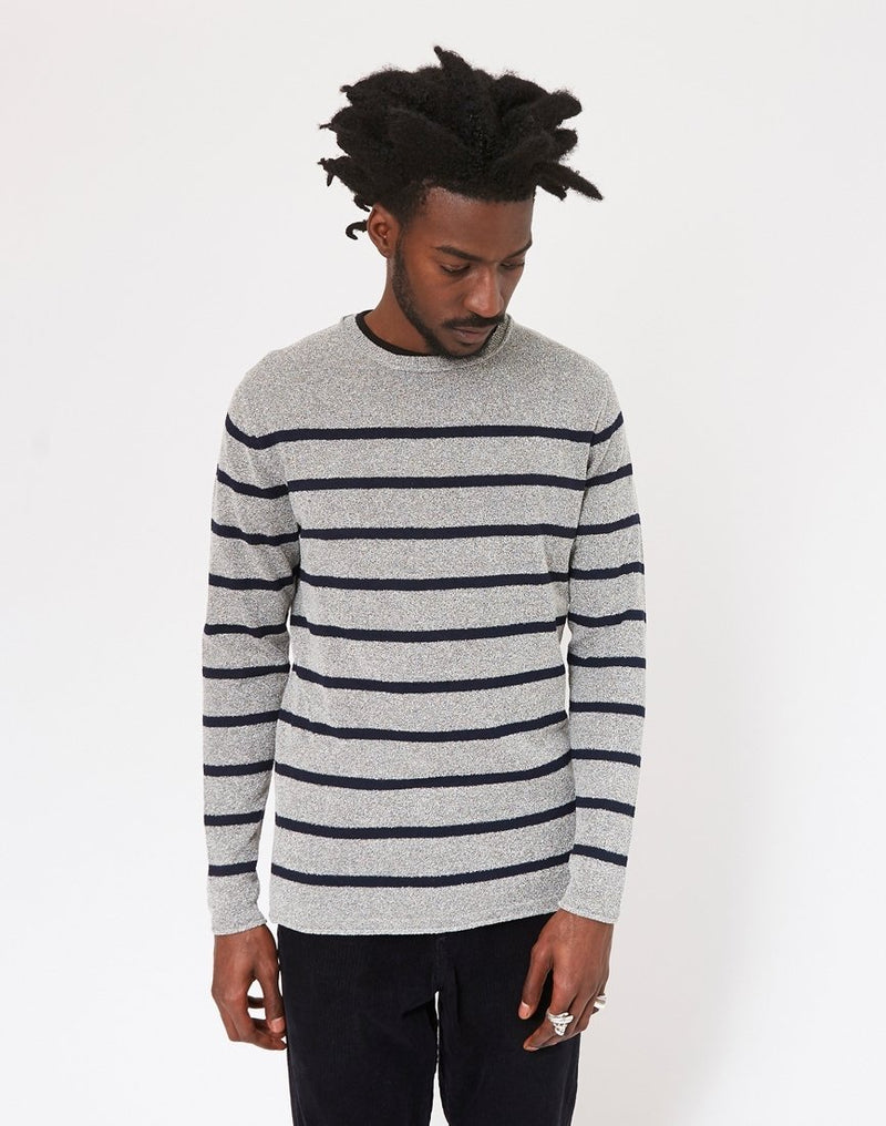 The Idle Man - Breton Stripe Jumper Grey & Navy