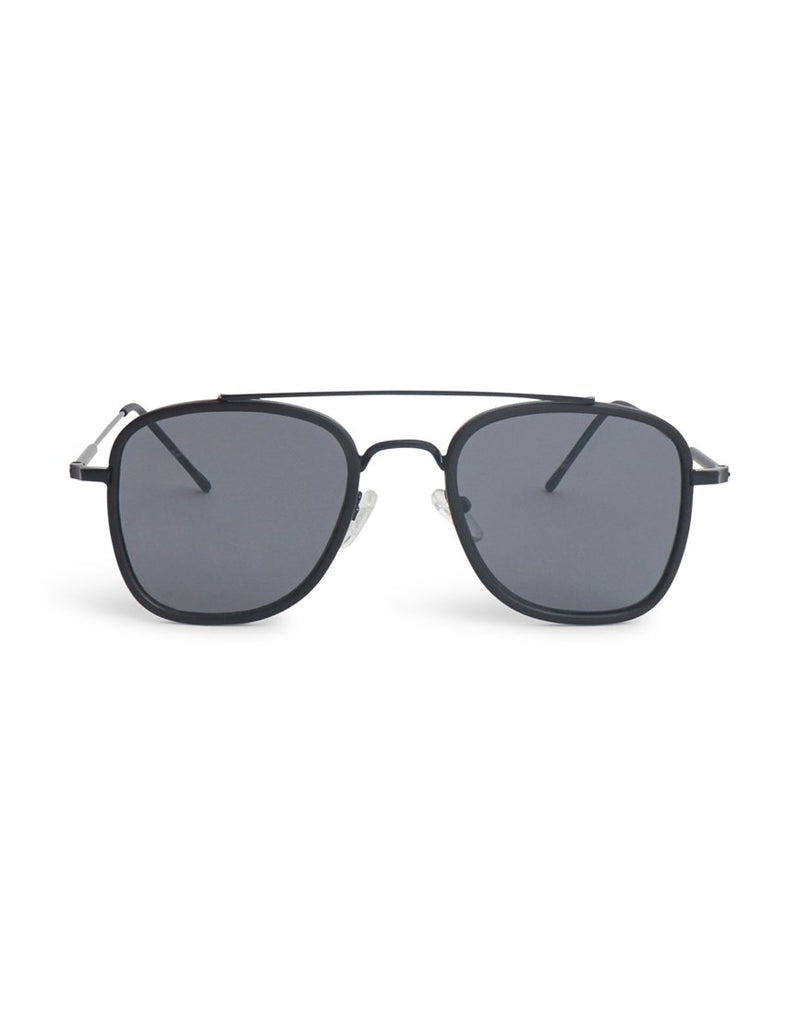 The Idle Man - Brow Bar Square Aviator Sunglasses Black - Black