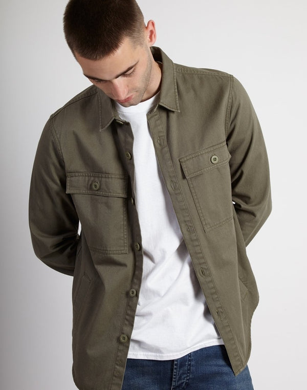 The Idle Man - Button Overshirt Green
