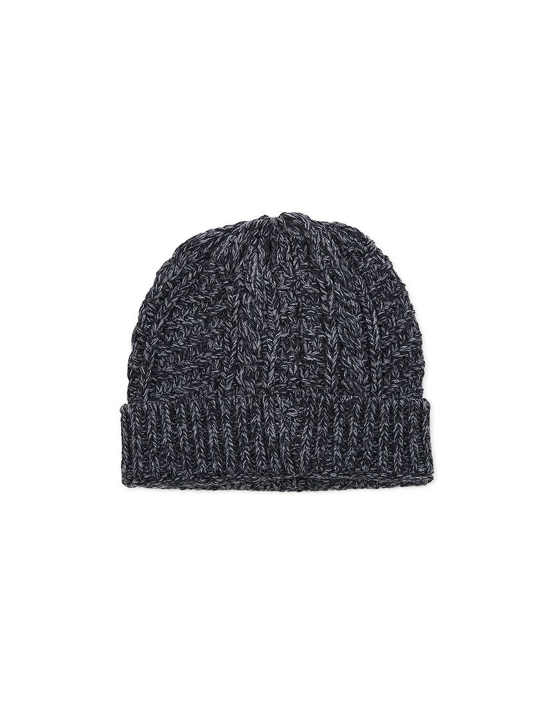 The Idle Man - Cable Knit Beanie Black - Black